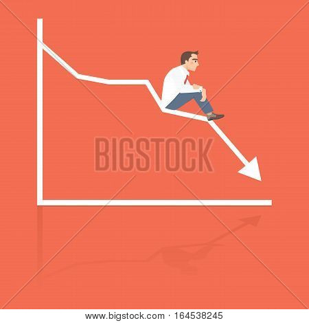 Businessman sitting frustratedly on decreasing graphic chart, business failure, crisis concept.