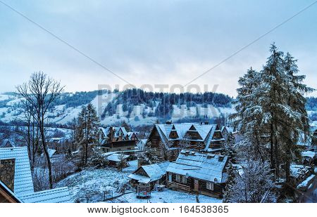 with views of the Tatras villas in Zakopane winter morning