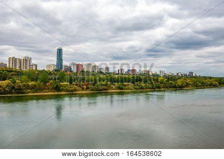 Aerial view at Edmonton from the River. Edmonton Alberta Canada