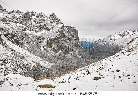 Landscape in Slovak High Tatras. View of White Water Valley in Tatra Mountains