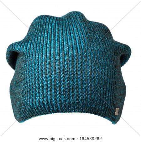 Hat Isolated On White Background .knitted Hat .turquoise Hat .
