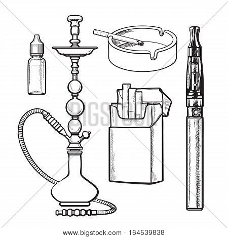 Hookah, pack, ashtray, electronic cigarette and tobacco e-liquid, sketch vector illustration isolated on white background. Hand drawn hookah, electronic and usual cigarettes, ashtray