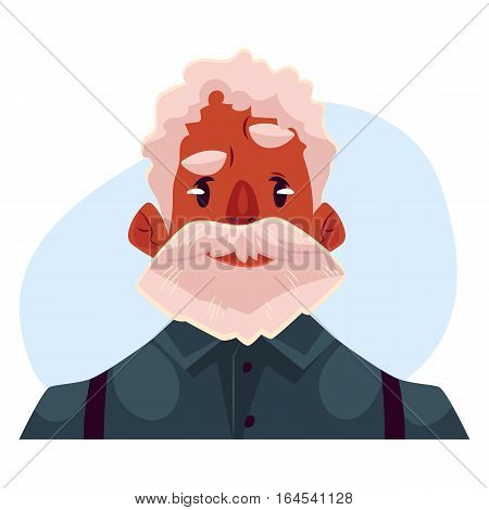 Grey haired old african man face, angry facial expression, cartoon vector on blue background. Old black man, grandfather feeling distressed, frustrated, sullen, upset. Angry face expression