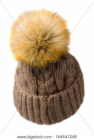 Women's Knitted Hat Isolated On White Background.hat With Pompon.brown Hat .