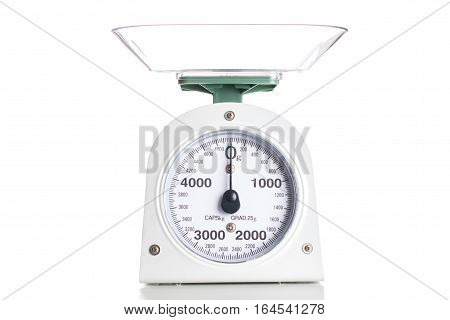 Scales Kitchen Plastic Grocery White Isolated On White Background Clipping Path