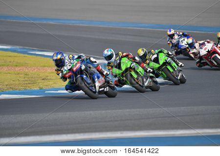 BURIRAM - DECEMBER 4 : Hikari Okubo of Japan with Honda motorcycle of SuperSport 600cc. in Asia Road Racing Championship 2016 Round 6 at Chang International Racing Circuit on December 4 2016 Buriram Thailand.