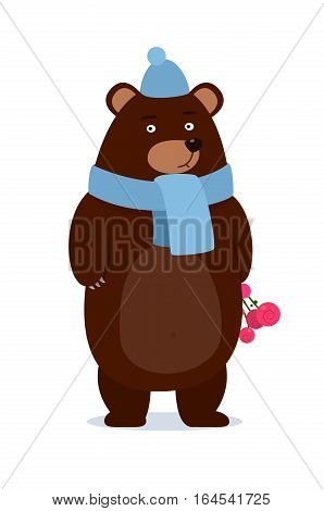 cartoon teddy bear wearing a scarf gives a gift - happy merry christmas design, new year, vector illustration eps10 graphic