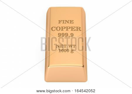 copper ingot 3D rendering isolated on white background