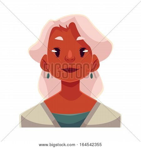 Grey haired old african lady, neutral facial expression, cartoon vector illustrations isolated on white background. Old black woman feeling glad, serene, relaxed, delighted. Neutral face expression