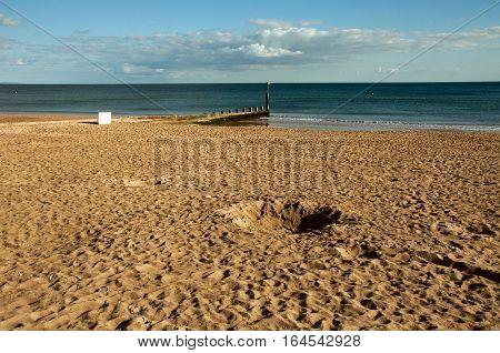 Summertime scene on Bournemouth beach in Dorset.