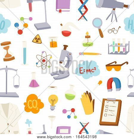 Laboratory icons retro experiments in science chemistry concept. Vector illustration design template laboratory icons biology education equipment. Scientific chemistry test research.