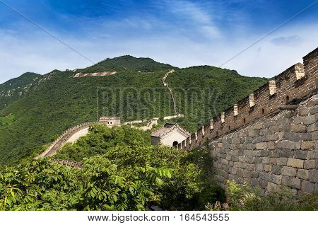 View of the China Great Wall in Mutianyu China; Concept for travel in China