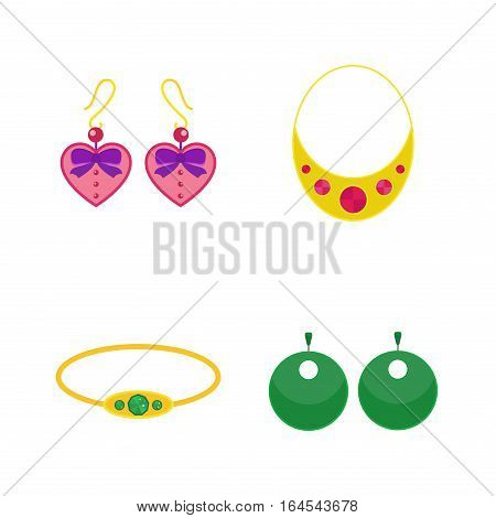 Set of vector jewelry items. Gold and gemstones precious accessories - tiara, necklace, pearl beads, ring, earrings, bracelet, brooch. Fashion items vector illustration.