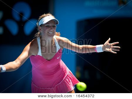 MELBOURNE - JANUARY 23: Victoria Azarenka of Belarus in her fourth round Loss to Li Na of Chinaa in the 2011 Australian Open on January 23, 2011 in Melbourne, Australia