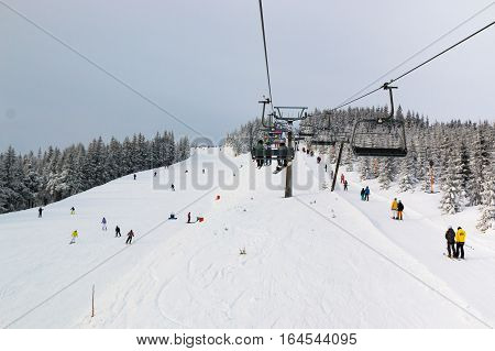 SPINDLERUV MLYN CZECH REPUBLIC - 7.01.2017: Czech ski resort Spindleruv Mlyn Medvedin in mountain Krkonose Czech Republic