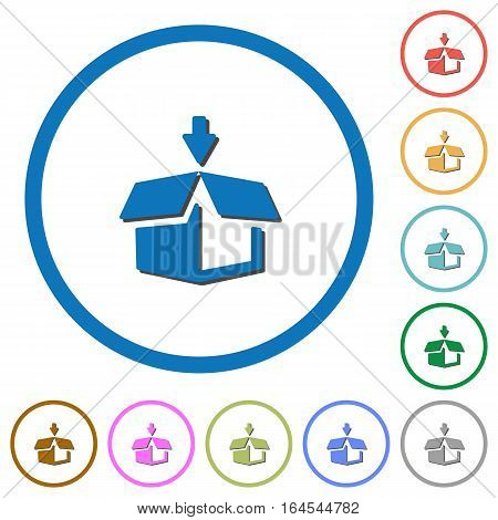 Pack flat color vector icons with shadows in round outlines on white background