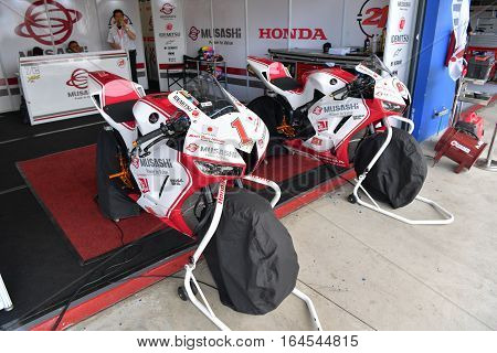 BURIRAM - DECEMBER 4 : Honda Motorcycle of Muasshi Boon Siew Honda Racing in Asia Road Racing Championship 2016 at Chang International Racing Circuit on December 4 2016 Buriram Thailand.