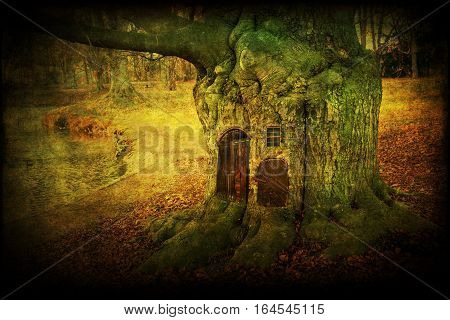 composite of an old tree with doors and windowm with antique style texture