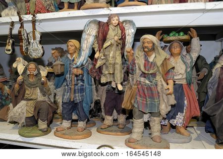 Naples San Gregorio Armeno street Neapolitan craftsmen of nativity scenes and other figurines of various sizes are perfectly created up to the smallest detail.