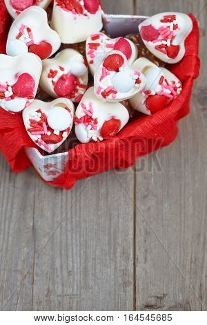 White chocolate candies decorated for Valentine day