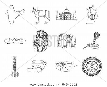 India set icons in outline style. Big collection India vector symbol stock