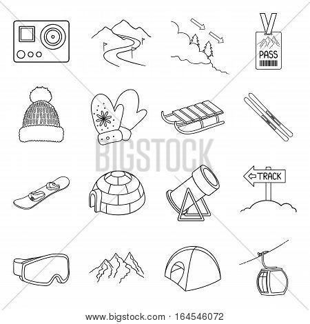 Ski resort set icons in outline style. Big collection ski resort vector symbol stock