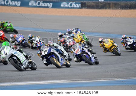 BURIRAM - DECEMBER 4 : Racing motorcycle of Asia Production 250cc. in Asia Road Racing Championship 2016 Round 6 at Chang International Racing Circuit on December 4 2016 Buriram Thailand.