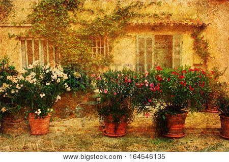Vintage Textured Picture Of A Provencal Idyll