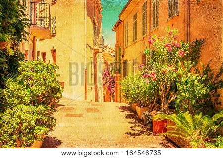 Vintage Style Picture Of An Alley In Cannes
