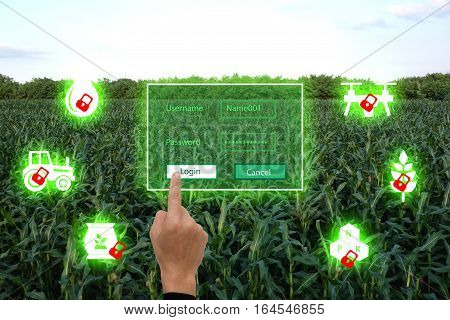 nternet of things(agriculture concept)smart farmingindustrial agriculture.Farmer use the finger unlock the key and access to the system for controlmanagement and monitor the field