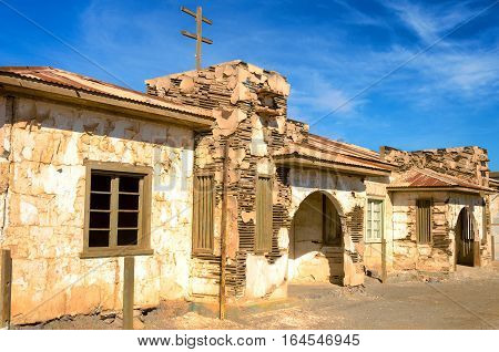 Ruins of houses in Humberstone Chile Iquique
