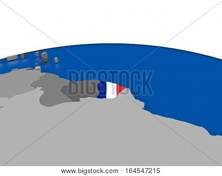 French Guiana On 3D Globe