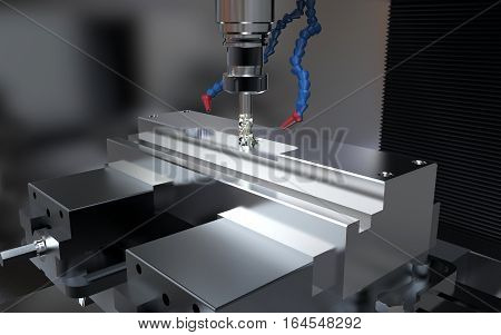 Metalworking CNC milling machine. Cutting metal with tool.