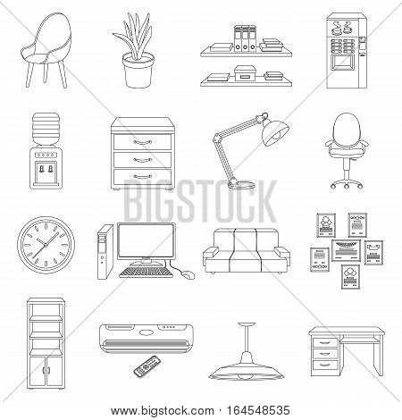 Office furniture and interior set icons in outline design. Big collection of office furniture and interior vector symbol stock illustration