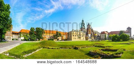 Panoramic View Of Wawel Royal Castle Complex In Krakow, Poland