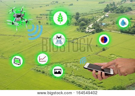 internet of things(industrial agriculture and smart farming concept)farmer use mobile and application to monitorcontrolmanagement the data in the farm from drone technology to improve the yield