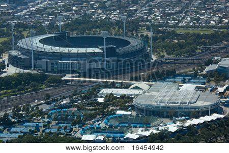 MELBOURNE, AUSTRALIA - JANUARY 30: Melbourne park & surrounding sporting precinct  the home the Australian Open Tennis Tournament on January 30, 2011 in Melbourne, Australia