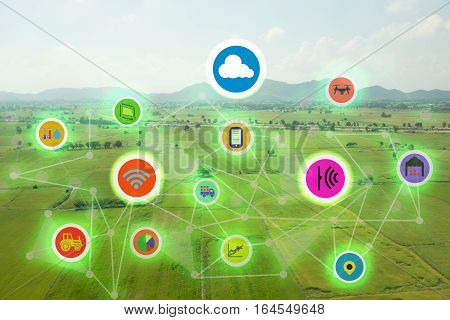 internet of things industrial agriculturesmart farming conceptsthe various farm technology in the futuristic icom on the field background ict(information communication technology)