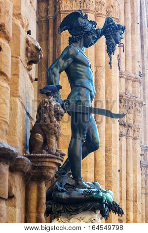 Bronze Sculpture Of Perseus In Florence, Italy
