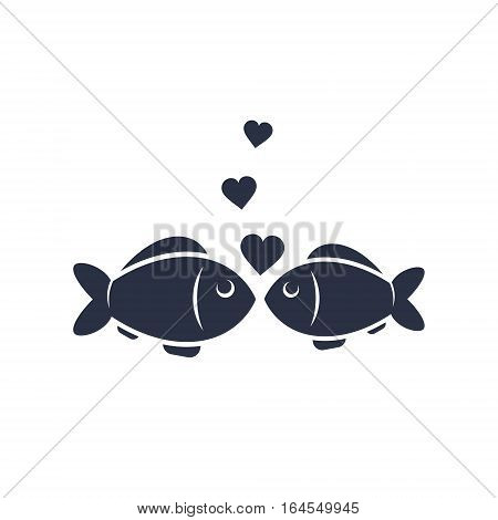 Fish and heart bubbles valentine day vector simple icon.