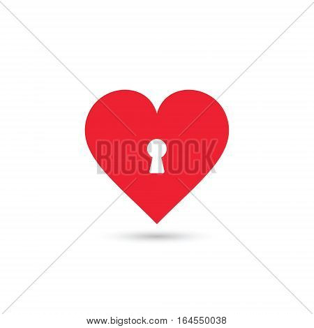 Heart and keyhole. Flat Vector isolated illustration