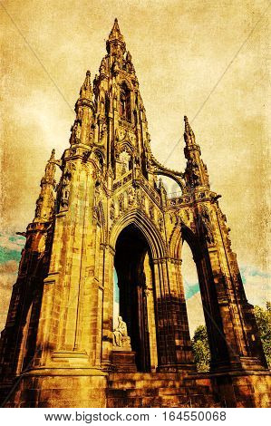 Vintage Style Picture Of The Scott Monument In Edinburgh