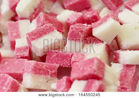 Fresh strawberry and coconut fudge on the market