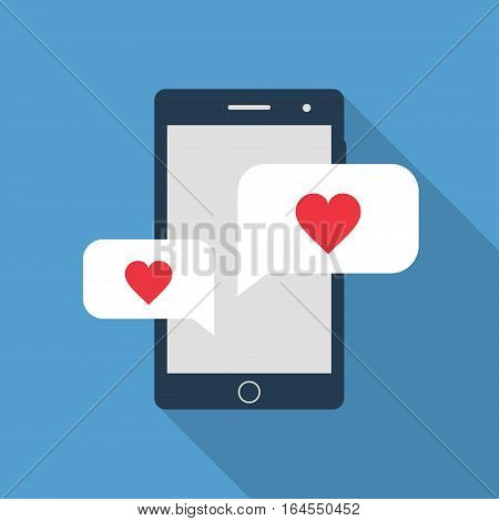 Smartphone with love speech bubbles vector valentine illustration.