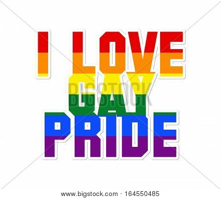 I love gay pride sign with a white background