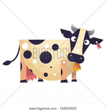 Funny cow with tag in ear and bell on the neck. Vector illustration isolated on white background.