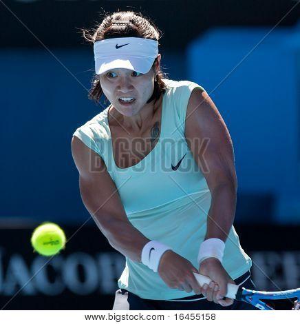 MELBOURNE - JANUARY 27: Li Na of China in her in her semi final win over Caroline  Wozniacki of Denmark in the 2011 Australian Open on January 27, 2011 in Melbourne, Australia