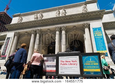 NEW YORK - APRIL 30 2016: Public library exterior at 5th avenue. It is a public library system in Midtown Manhattan with nearly 53 million items