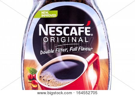 LONDON UK - JANUARY 4TH 2017: A close-up of the Nescafe label on a jar of Coffee on 4th January 2017. The Nescafe brand is owned by the Nestle company.
