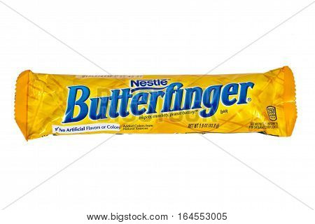 LONDON UK - JANUARY 4TH 2017: A studio shot of a Butterfinger chocolate bar isolated over a plain white background on 4th January 2017. The product is manufactured by Swiss company Nestle.